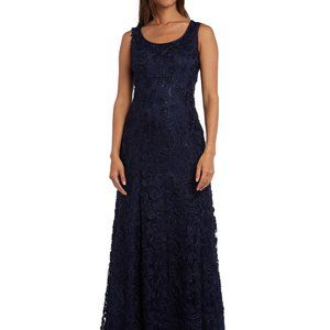 R & M Richards Embellished Soutache Gown Navy